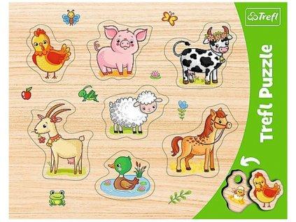 Vkládačka puzzle Zvířátka z farmy 7 dílků