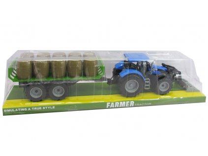 Plastový traktor s čelním nakladačem a vlečkou