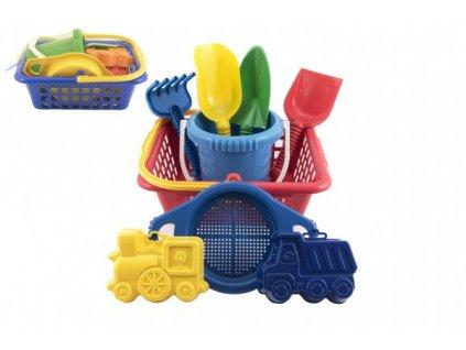 Košík sada - 2 bábovky rýč lopatka hrabičky sítko kbelík nákupní košík