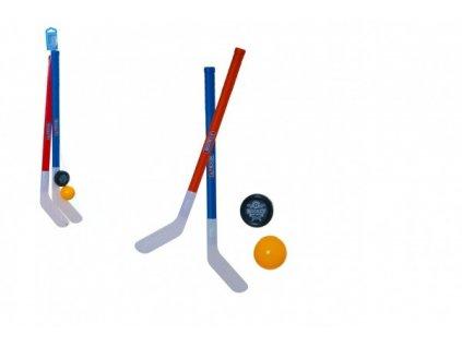 Pozemní hokejka 2ks s florbalovým míčkem a pukem