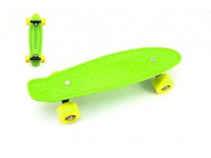Skateboard - pennyboard zelený, žlutá kola