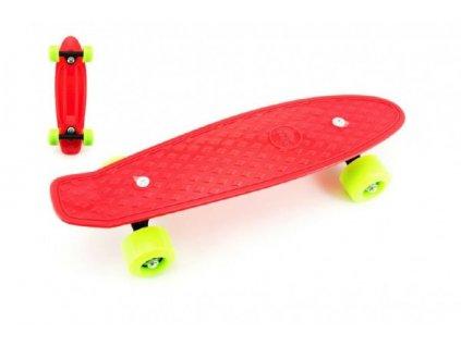 Skateboard - pennyboard  červený, zelená kola
