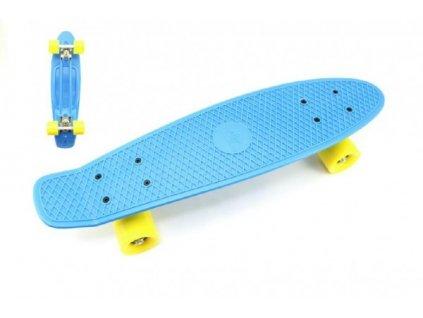 Skateboard - pennyboard modrá barva, žlutá kola