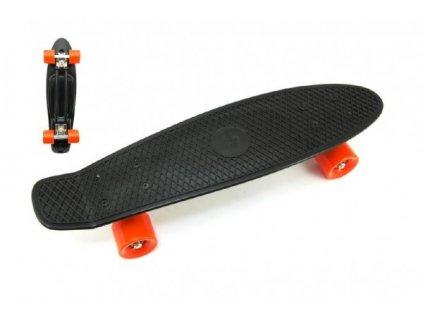Skateboard - pennyboard černá barva, oranžová kola