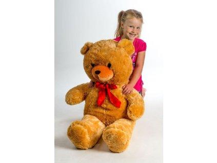 Velký plyšový medvěd 100cm s mašlí světle hnědý