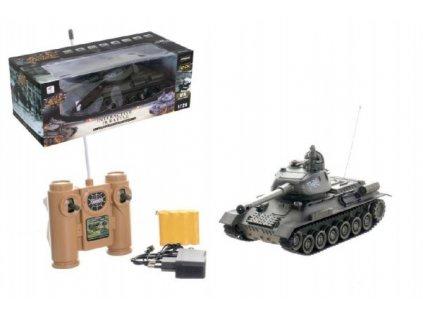 Tank RC T-34/85 27MHz na baterie+dobíjecí pack se zvukem a světlem