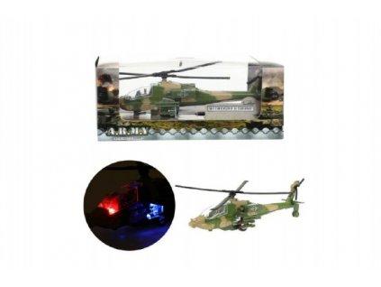 Vrtulník/Helikoptéra vojenská na baterie se světlem se zvukem 2 barvy