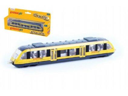 Vlak žlutý RegioJet kov/plast na volný chod