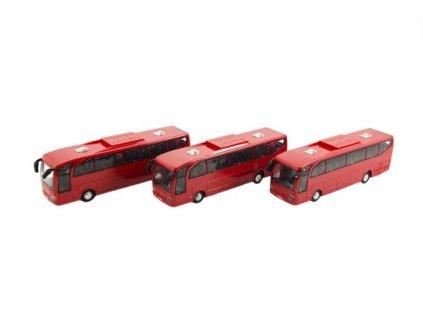 Autobus červený na setrvačník na baterie se zvukem se světlem