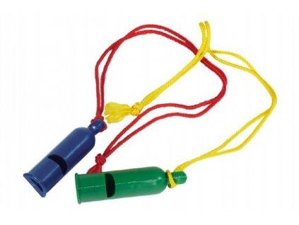 Píšťalka signální se šňůrkou na krk 2 barvy
