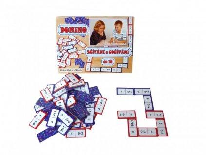 Domino sčítání a odčítání do 10 společenská hra 60ks