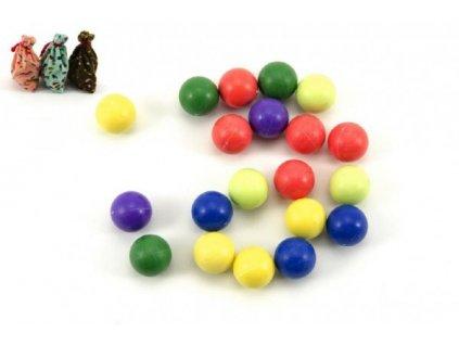 Kuličky cvrnkací nerozbitné barevné 20ks 3 barvy látkového pytlíčku