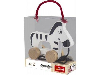 Zebra na kolečkách a s provázkem Wooden Toys