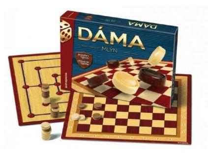 Dáma + mlýn dřevěné kameny společenská hra
