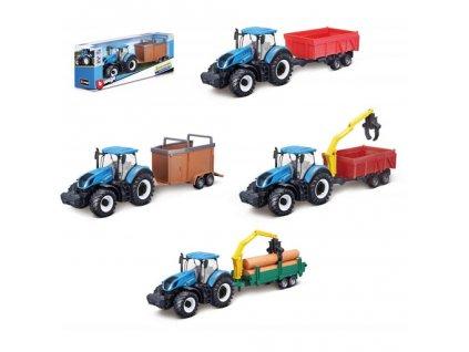 Traktor Bburago New Holland s vlekem 4 druhy