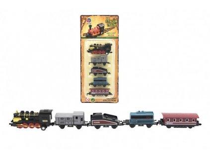 Sada lokomotiva a vagónky 5ks na zpětné natažení 4 druhy