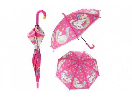 Deštník Jednorožec růžový vystřelovací