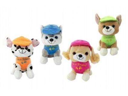 Plyšový pes v oblečku štěkací 4 barvy