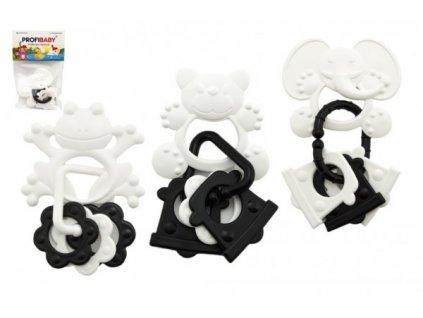 Kousátka zvířátka + přívěsky černobílé 4 druhy
