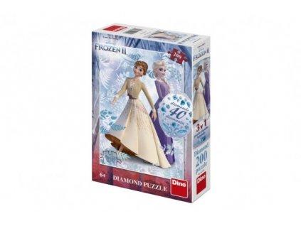 Puzzle 3v1 Ledové království II/Frozen II 200 dílků s diamanty a lepidlem