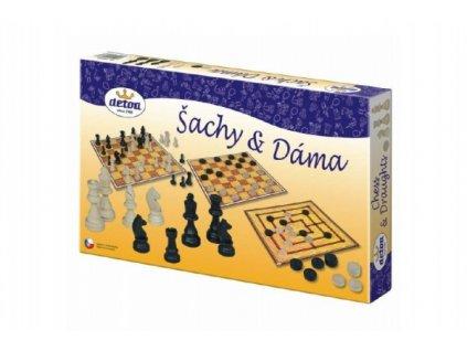 Šachy a dáma dřevěné figurky a kameny