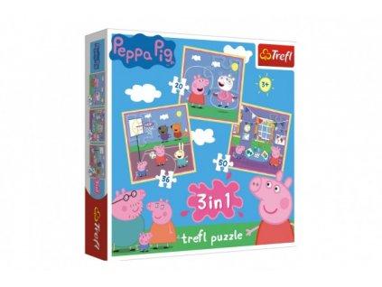 Puzzle 3v1 Prasátko Peppa/ Peppa Pig ve škole