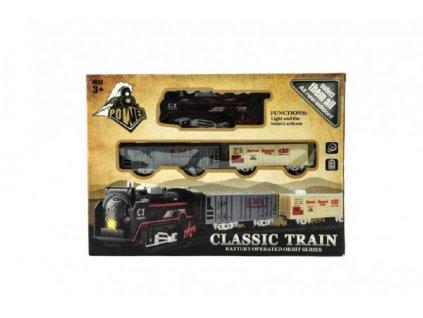 Vlak + vagónky a koleje  na baterie se světlem