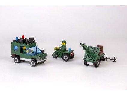 Stavebnice Cheva 45 Jeep vojenský s dělem 123ks
