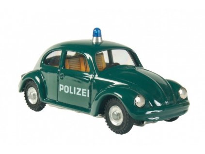 Kovové auto VW brouk policie tmavě zelené
