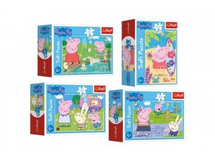 Minipuzzle 54 dílků Šťastný den Prasátka Peppy/Peppa Pig 4 druhy 40ks