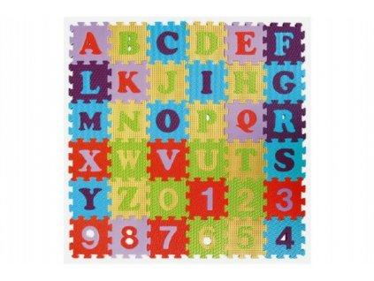 Pěnové puzzle abeceda a čísla mix barev 36ks