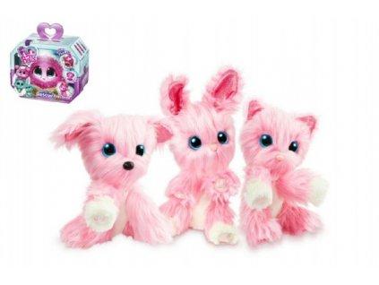 Zvířátko FUR BALLS plyš Touláček pejsek/kočka/králík růžový s doplňky