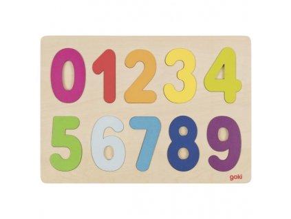 Dřevěné puzzle na desce Čísla