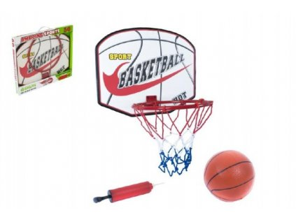 Basketbalový koš dřevo/kov/síťka/míč s pumpičkou