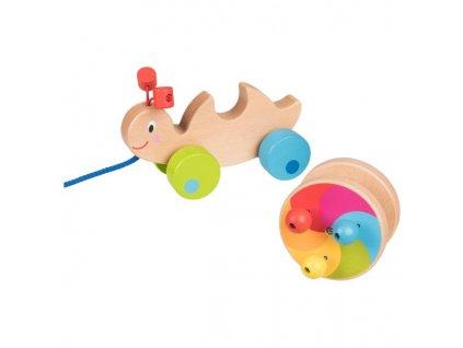 Duhový šnek tahací hračka ze dřeva 1