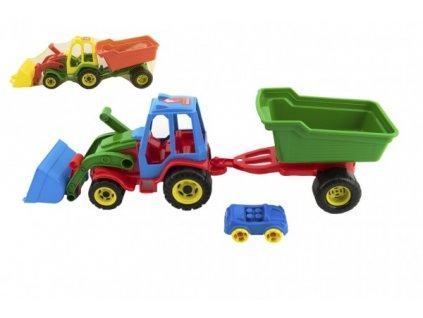 Traktor nakladač s valníkem s autíčkem 3 barvy