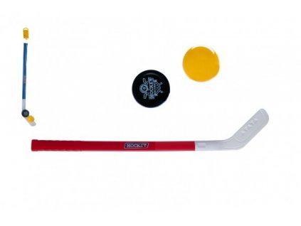 Hokejka plast 73cm s pukem a míčkem 2 barvy