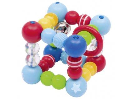 Plastové chrastítko elastická krychle – hvězdička