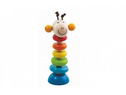 Žirafa na gumě dřevěná 15cm