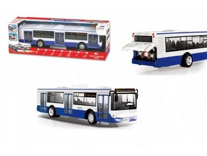 Autobus česky mluvící modrý volný chod na bat. se světem se zvukem