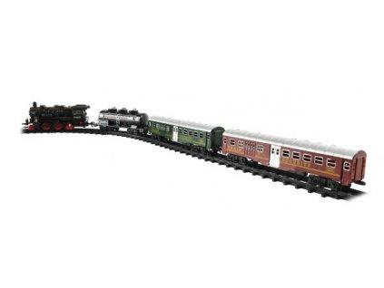 Vlak + 3 vagóny s kolejemi 24ks na baterie se světlem se zvukem