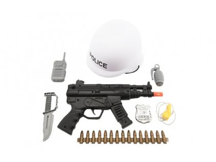 Sada policie helma+samopal na setrvačník s doplňky
