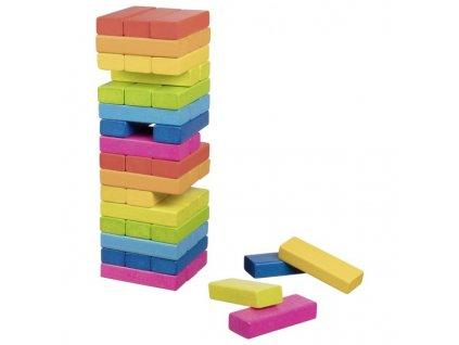 Zábavná hra – Dřevěná věž Jenga duhová, 48 dílů 1