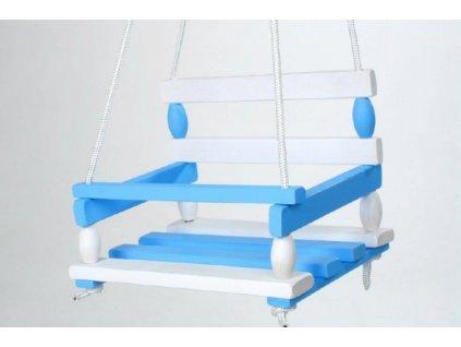 Dřevěná houpačka bílo modrá