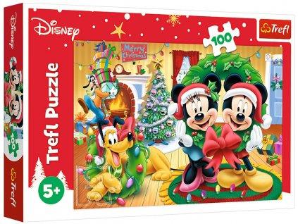 Puzzle Vánoce s Mickey Mousem 100 dílků