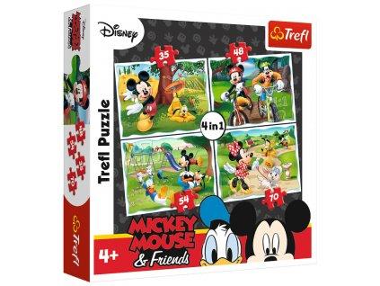 Puzzle Mickey Mouse a přátelé v parku 4v1 (35,48,54,70 dílků)