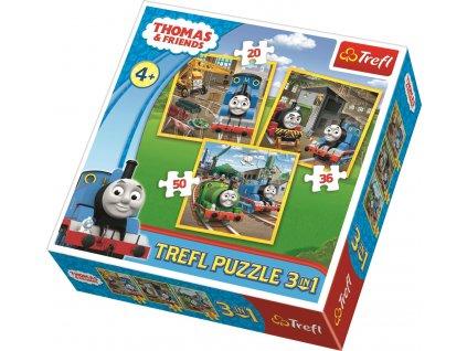 Puzzle Mašinka Tomáš Do akce! 3v1 (20,36,50 dílků)