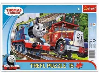 Deskové puzzle Mašinka Tomáš a hasič Flynn 15 dílků