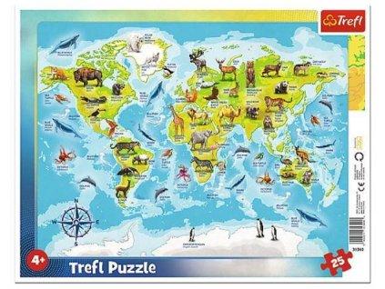 Deskové puzzle Mapa světa se zvířátky 25 dílků