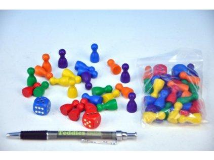 Figurky dřevo 25mm 24ks 6 barev+ 2 kostky společenská hra